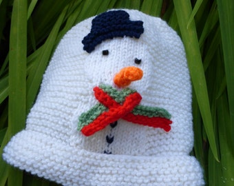 KNITTING PATTERN in PDF - Snowman Baby Hat - Christmas knitting