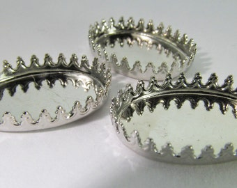 8 Vintage 18x12 Oval Silver-Plated Brass Crown Bezel Settings Mt216