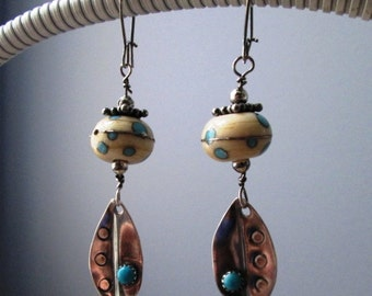 Turquoise and Polka Dot Lampwork Glass Sterling Hand Crafted Leaves with Turquoise Accents Dangling Earrings Jewelry