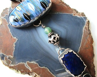 Long Necklace in Sterling Silver with Ceramic Cabochon, Lapis and Onyx Dangle and Gemstone and Sterling Beads Jewelry