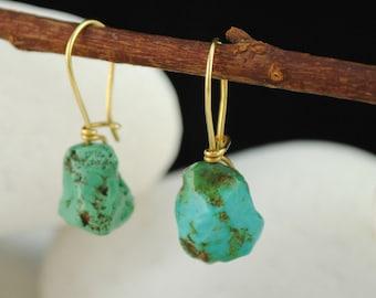 Turquoise Dangle / Hook Earrings - 18K Gold
