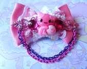 Pink Lollipop Cat Star Bow Hair Clip