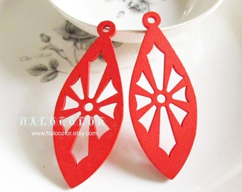 Painting Series- 27x59mm Pretty Red Oval Impression Wooden Charm/Pendant MH250 03