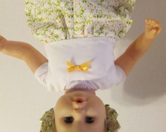 """17-18""""  White Daisy Print Romper with Matching Hat"""