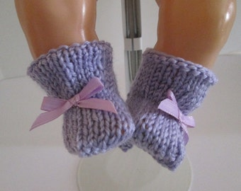 "15-16"" Lavender Booties with Lavender Bows"