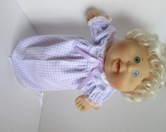 """14"""" Baby Cabbage Patch Lavender and White Check Nightgown"""
