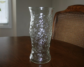 Vintage Milano Anchor Hocking Clear Glass Vase Mid Century