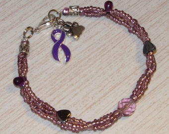 Animal Cruelty/Abuse Awareness Bracelet - BRAIDED Czech Glass with Ribbon Charm + Paw, Dog, or Cat Charm in Purple