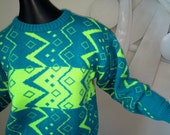 Vintage 80s NEON Ski Sweater! Genuine 1980s Skiwear Great for 80s Ski Party Ski Wear Fluorescent Green & Teal Blue MOD New Wave Punk Design