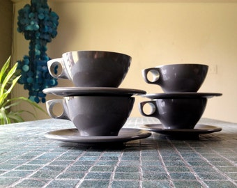 Boontonware TWO Cups (No saucers) Dinnerware Melamine Vintage Glamping set 1950s 1960s 50s 60s Charcoal Dark Gray