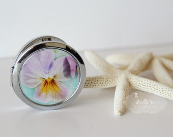 "Photo Compact  Mirror- Pastel Watercolor Pansy Flowers Photograph Bridesmaid Gift, Gift for her 3"" Double Sided Mirror- Engravable Gift Item"