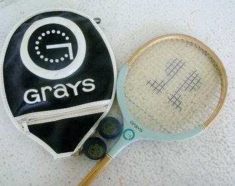 Squash Racquet Ladies Vintage Grays England with Cover Balls 1970s Tennis