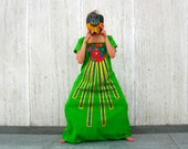 RESERVED for Marsha Vintage mexican dress aztec embroidered sun green dress maxi dress