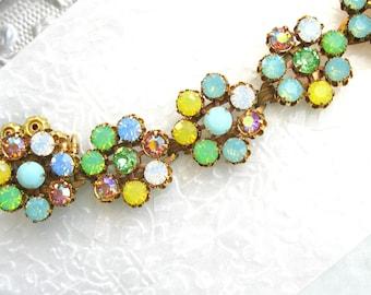 Blue and Yellow Opal Flower Bracelet Swarovski Crystal Vintage Flower bracelet Large bracelet 7-1/2 inch Plus Size Jewelry pastel bracelet