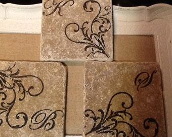 Monogrammed Tile Coasters -  tile coaster cross stone coaster drink coaster wedding shower home decor housewares