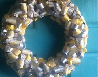 Yellow and Gray Ribbon Wreath - ribbon wreath home decor housewares wreath door decor chevron wreath