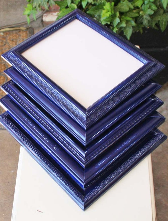 navy blue picture frame set of four shabby hand painted distressed frames made to order. Black Bedroom Furniture Sets. Home Design Ideas