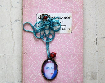 Pendant necklace with a portrait - Neckace with Painting - Wearable Art Jewelry - Miniature Portrait Jewelry