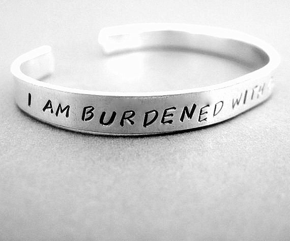 I Am Burdened with Glorious Purpose - Hand Stamped Cuff in Aluminum, Golden Brass or Sterling Silver  - Gifts Under 20