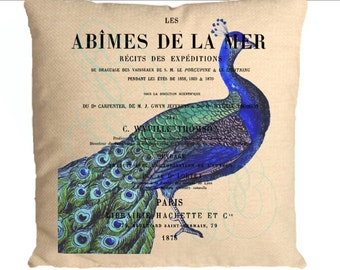 Peacock instant clip art French ad Digital download for iron on fabric transfer tote bag burlap Create a pillow or frame it No. C28