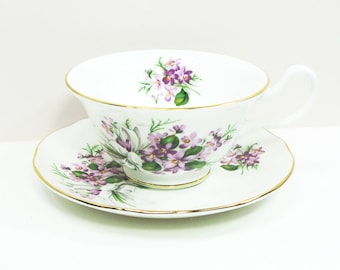 Bethany Fine Bone China footed tea cup teacup saucer with purple flowers flower bouquet with white ribbon - Made in Staffordshire England
