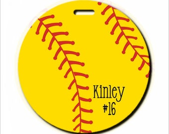Personalized Softball Bag Tag, Personalized Softball Luggage Tag, Personalized Round Softball Bag Tag, Monogrammed Softball Bag Tag