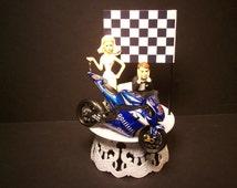 Motorcycle YAMAHA YZR-M105 Bike Bride and Groom Funny Bike Wedding Cake Topper