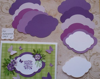 2 size Die cut Shapes for Layering Purples White colors Cardstock for Wedding Tags Place card Label Brackets