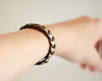 Braided Leather Bracelet / Muted Bronze