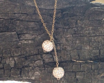 Double Rose Gold Mirror Ball Necklace with 14k Gold-Filled Chain