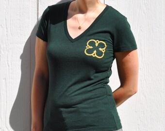 Gold Clover / Quatrefoil Print on Ladies Dark Green V-neck T-shirt - S, M, L