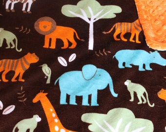 Minky Blanket Jungle Print Minky with Orange Dimple Dot Minky Backing - Perfect Size for a Baby or Toddler