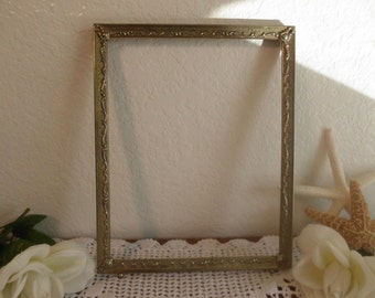 Vintage Ornate 8 x 10 Gold Metal Frame French Paris Chic Hollywood Regency Cottage Home Decor Wedding Sign Decoration