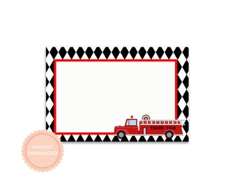 INSTANT DOWNLOAD, FIRE Truck Thank You Note