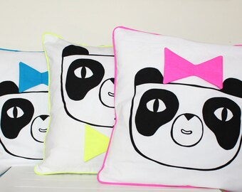 Neon Panda Screen printed Pillow / Cushion Cover 40cm