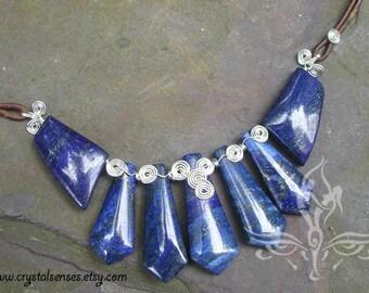 Lapis Lazuli Gemstone Silver Leather Necklace