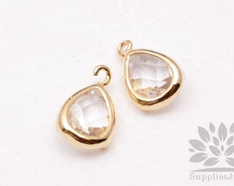 F121-G-CR// Gold Plated Clear Crystal Faceted Teardrop Glass Pendant, 2 pcs