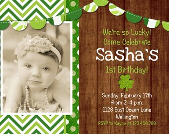 Rustic St Patricks Day Birthday Invitation Photo Card Printable and Custom