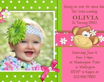 Mod Monkey Girl Birthday Invitation - Printable and Custom Invite