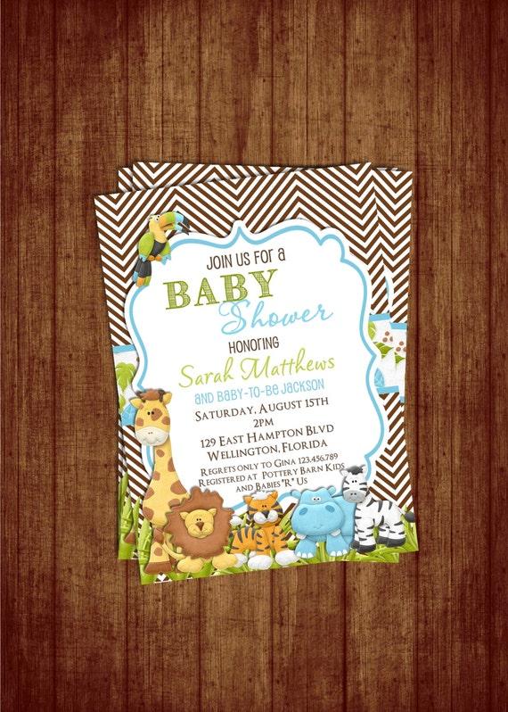 Chevron Jungle Baby Shower Invitation - Safari Animals Hippo Lion Giraffe You Print Invite