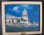 Vintage Oil Painting of Havana, Cuba (El Capitolio)