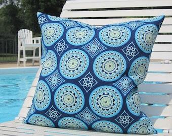 "Outdoor Pillows, Blue OUTDOOR Pillows, 20"" x 20"" Throw Pillow, Blue Patio Pillows, Outdoor Medallion Pillows, Pillow Covers"