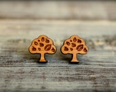 Leafy Apple Tree, Laser Cut Wood Earrings