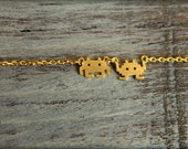 8-bit Monster Duo Necklace, Available in Silver and Gold