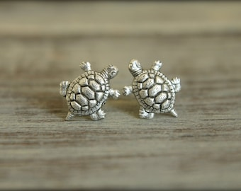 Turtle Earring Studs with Stainless Steel Posts, Available in 3 Colors