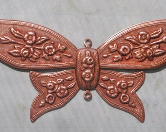Neo Victorian brass bow stamping with two hoops, Rose Ox