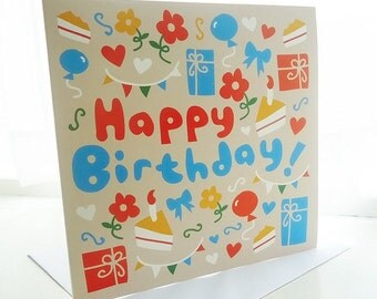 Happy Birthday Red & Blue Pattern Card