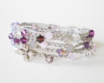 grey & purple crochet wrap bracelet, swarovski crochet necklace, beaded wrap bracelet, boho chic, hipster bracelet, bohemian cuff