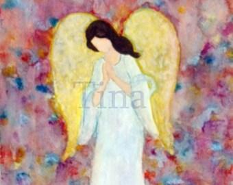 Digital Download/Heavenly Guardian/Angel Digital Art/Angel Watercolor Painting/Watercolor Angel Art/Praying Angel Art/Religious Art/Digital