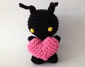 Crochet Amigurumi Shadow Monster - heart-less creature w/ crocheted heart - Handmade Collectible Art Doll